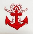 Applikation Anker Nautik 4,9 x 5,6cm Farbe: Rot-Weiss