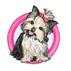Applikation Patch Hund Westi 7,5 x 8,5cm Farbe: Pink