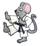 Applikation Patch Sticker Karate-Maus 7 x 6cm