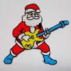 Applikation Patch Sticker Weihnachtsmann mit Gitarre 6,5 x 7cm