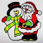 Applikation Patch Sticker Weihnachtsmann und Schneemann 7 x 7cm