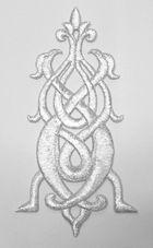 Applikation Patch Tribal 7 x 13cm Farbe: Lurex-Silber