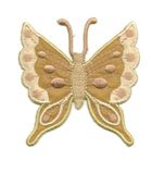 Applikation Patch Schmetterling 6,3 x 6,7cm Farbe: Hellbraun