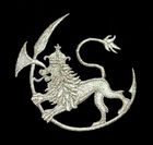 Applikation Patch Wappen Löwe 9,5x8,5cm Farbe: Lurex-Silber