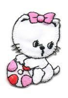 Applikation Sticker Katze 3 x 4,5cm Farbe: Weiss-Pink-Rot