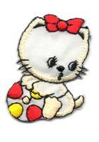 Applikation Sticker Katze 3 x 4,5cm Farbe: Beige-Gelb-Rot
