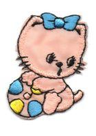 Applikation Sticker Katze 3 x 4,5cm Farbe: Lachs-Blau-Gelb