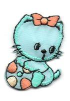 Applikation Sticker Katze 3 x 4,5cm Farbe: Mint-Orange