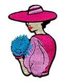 Applikation Patch Frau 5 x 7,8cm Farbe: Pink