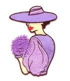 Applikation Patch Frau 5 x 7,8cm Farbe: Flieder