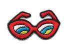 Applikation Brille Sonnenbrille 4 x 2,2cm Farbe: Rot
