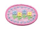 Applikation Sticker Medaillon Blumen 4 x 2,8cm Farbe: Rosa