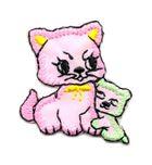 Applikation Sticker Katzenpaar 3,7 x 3,2cm Farbe: Rosa