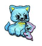 Applikation Sticker Katzenpaar 3,7 x 3,2cm Farbe: Blau