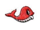 Applikation Sticker Fisch Wal 3,3 x 1,9cm Farbe: Rot
