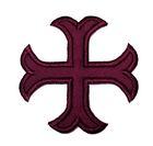 1 Applikationen Kreuz Farbe: Bordeaux 2,2 x 2,2cm