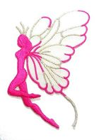 Applikation Patch Elfe 9,7x5,5cm Farbe: Pink-Weiss-Silber