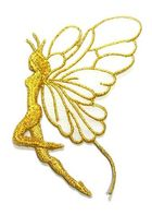 Applikation Patch Elfe 9,7x5,5cm Farbe: Weiss-Gold