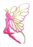 Applikation Patch Elfe 9,7x5,5cm Farbe: Rosa-Weiss-Gold