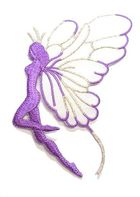Applikation Patch Elfe 9,7x5,5cm Farbe: Lila-Weiss-Silber