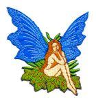 Applikation Patch Elfe Fee 7x7cm Farbe: Blau