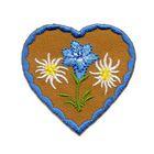 Applikation Landhaus Herz Enzian Edelweiss 4,3 x 4,3cm Farbe: Blau-Braun