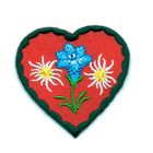 Applikation Landhaus Herz Enzian Edelweiss 4,3 x 4,3cm Farbe: Dunkelgrün-Rot