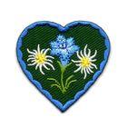Applikation Landhaus Herz Enzian Edelweiss 4,3 x 4,3cm Farbe: Blau-Dunkelgrün