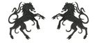 1 Paar Applikationen Wappen Pferd 6,5 x 11cm Farbe: Schwarz