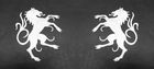 1 Paar Applikationen Wappen Pferd 6,5 x 11cm Farbe: Weiss