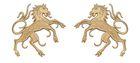 1 Paar Applikationen Wappen Pferd 6,5 x 11cm Farbe: Hellbraun