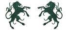 1 Paar Applikationen Wappen Pferd 6,5 x 11cm Farbe: Tannengrün