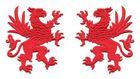 1 Paar Applikationen Wappen Adler Greif 11 x 6cm Farbe: Rot