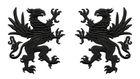 1 Paar Applikationen Wappen Adler Greif 11 x 6cm Farbe: Schwarz