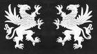 1 Paar Applikationen Wappen Adler Greif 11 x 6cm Farbe: Weiss