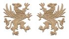 1 Paar Applikationen Wappen Adler Greif 11 x 6cm Farbe: Hellbraun