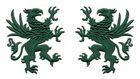 1 Paar Applikationen Wappen Adler Greif 11 x 6cm Farbe: Tannengrün