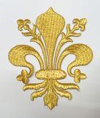 Applikationen Wappen Königslilie Fleur de Lis 8,2 x 11cm Farbe: Lurex-Gold