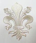 Applikationen Wappen Königslilie Fleur de Lis 8,2 x 11cm Farbe: Lurex-Silber