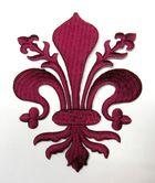 Applikationen Wappen Königslilie Fleur de Lis 8,2 x 11cm Farbe: Bordeaux