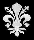 Applikationen Wappen Königslilie Fleur de Lis 5,8 x 7,6cm Farbe: Weiss