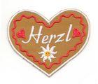 Landhaus Trachten Applikation Wiesn Herz Herzl 8,5 x 7cm Farbe: weiss-rot-braun