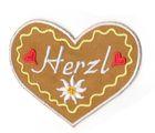 Landhaus Trachten Applikation Wiesn Herz Herzl 7 x 6cm Farbe: weiss-gelb-braun
