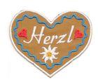 Landhaus Trachten Applikation Wiesn Herz Herzl 7 x 6cm Farbe: weiss-d.blau-braun