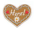 Landhaus Trachten Applikation Wiesn Herz Herzl 7 x 6cm Farbe: weiss-h.blau-braun