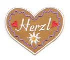 Landhaus Trachten Applikation Wiesn Herz Herzl 7 x 6cm Farbe: weiss-h.lila-braun