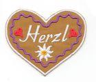 Landhaus Trachten Applikation Wiesn Herz Herzl 7 x 6cm Farbe: weiss-d.lila-braun
