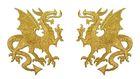 1 Paar Applikationen Wappen Drachen 14,4 x 10cm Farbe: Lurex-Gold