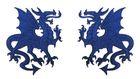 1 Paar Applikationen Wappen Drachen 14,4 x 10cm Farbe: Dunkelblau
