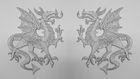 1 Paar Applikationen Wappen Drachen 14,4 x 10cm Farbe: Lurex-Silber
